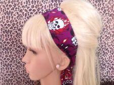 PURPLE FLAME SKULL ROSE PRINT HEAD SCARF HAIR BAND SELF TIE BOW ROCKABILLY GOTH