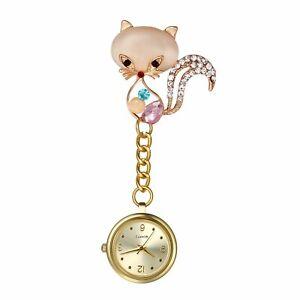 Katze Zirkonia Gold Zifferblatt Brosche Fob Clip-on Nurse Watch Taschenuhren