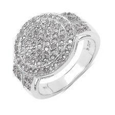 Bague Fiançailles Pavé Diamant Argent massif 925