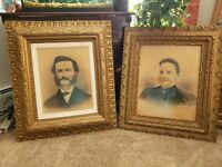 Antique 19th Century Large Ornate Wood Gesso Gold Gilt Frames