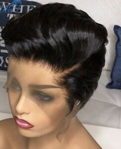 Pixie Cut Wig Human Hair Lace Front Wigs for Black Women 6 inch Loose Wave
