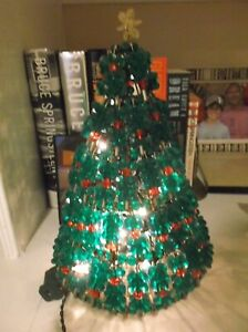 """VTG HANDMADE GREEN RED CLEAR BEADED SAFETY PIN CHRISTMAS TREE 11"""" T~LIGHTS UP!"""