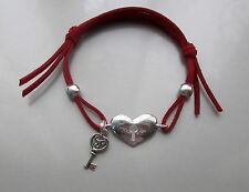 HEART & KEY BRACELET WITH METAL BEADS ON RED SUEDE CORD FITS ALL