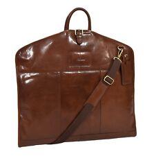 Luxury Leather Suit Carrier Bag Chestnut Suiter Case Dress Garment Travel Cover