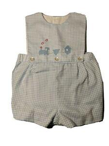 Vtg Nannette Frocks blue Gingham Romper embroidered train Baby Infant Boy 12 Mth