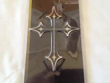 "5.5"" Stainless Steel Cross Dual Layer 3D Emblem Decal Badge for Car,Truck,SUV's"