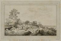 W. BAILLIE (*1723), Landschaft mit Kutschen, n. MOLYN, 1773, Radierung