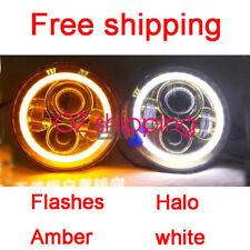 "Toyota Landcruiser HZJ75 75 78 79 series JTX LED WHITE CHROME Halo 7"" Headlights"