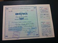 EXTRA RARRE - YUGOSLAVIA --MUNICIPAL BANK BJELOVAR - 2000 DINARA 1961 - BOND !!!
