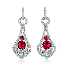 HUCHE Silver Ruby Red Gemstone Hollow Drop Dangle Lady Banquet Wedding Earrings