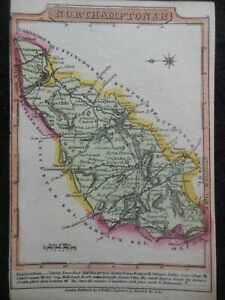 Small Hand Coloured County Georgian Map of Northamptonshire (c1820) England