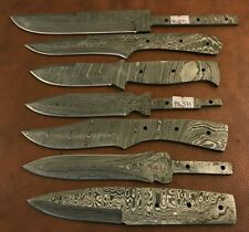 7x Handmade Damascus Steel Knife Blank Blades-Heat Treated-Sharp-BL371