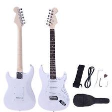 New Rose Wood Fingerboard Electric Guitar White + Gigbag +Cord +Strap +Accessor