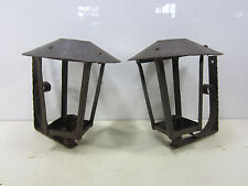 2 Vintage Wrought Iron Hand Made Outdoor Wall Lanterns- Non-Electric