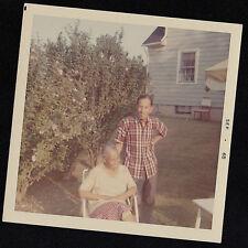 Vintage Photograph African American Man & Woman Sitting in Backyard 1968