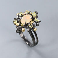 Natural Opal 925 Sterling Silver Ring Size 7/RR17-0855
