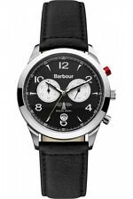 MENS BARBOUR REDLEY CHRONOGRAPH BLACK LEATHER STRAP WATCH RRP £285 BNWT