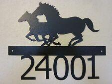 CUSTOM RUNNING HORSES HOUSE NUMBER TEXTURED BLACK POWDER COAT FINISH