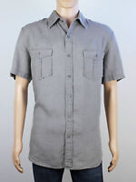 Next mens Size Large XL loose fit linen grey short sleeve shirt