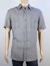 Next mens Size Large XL loose fit linen grey short sleeve shirt