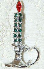 Vintage DODDS Silver Tone Red-Green Rhinestone Christmas Candle Brooch/Pin  M81*