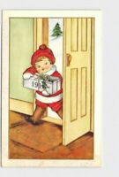 ANTIQUE POSTCARD CHRISTMAS NEW YEARS GREETINGS GIFT WITH HOLLY KID IN RED HAT CO