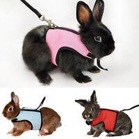 Adjustable Small Pet Harness Leash Rabbit Squirrel Lead Collar Mesh Paddad Vest