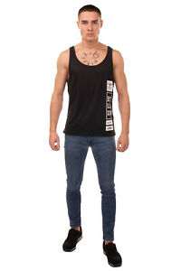 BOY LONDON Vest Top Size XS Coated Logo Two Tone Scoop Made in Italy