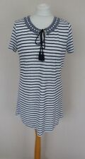 Fat Face Navy Blue White Stripe Linen Embroidered Tunic T-Shirt Top Size 10 VGC
