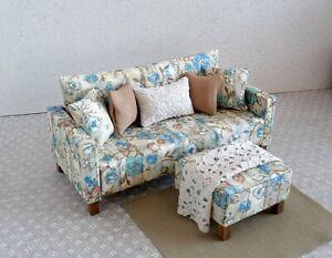 1/6 scale doll Sofa in Fresh Egg Floral Slats Print, matching ottoman, small bla