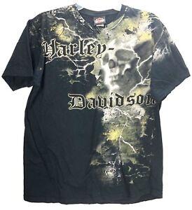 Harley Davidson T-shirt Mens XL Las Vegas Nevada Black Lightning Storm Skull