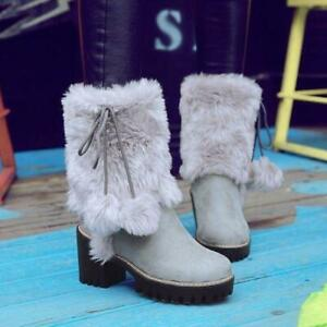Womens Furry Pom Pom Mid Calf Snow Boots Block High Heel Warm Pull On Shoes