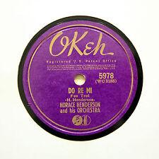 """HORACE HENDERSON ORCHESTRA """"Do Re Mi / Ginger Belle"""" (E+) OKEH 5978 [78 RPM]"""