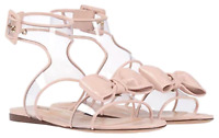 $875 New VALENTINO GARAVANI SANDAL SHOES LIGHT PINK NUDE  CLEAR DOLLY BOW 38 7