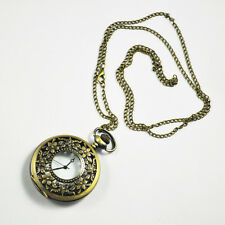 """Antique Pocket Watch with 31"""" Chain in Antique Bronze Gold FinishN3"""