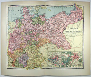German Empire - Original 1902 Map by Dodd Mead & Co. Germany Prussia Antique