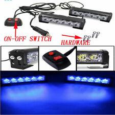 Dash Grill 2x6 LED Blue Strobe Light Bar Car Emergency Hazard Warning Flashing