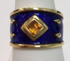 14k Yellow Gold Blue Enamel Wide Band w/ Citrine Ring Size 7.5