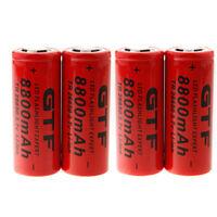 4x GTF 3.7V 8800mAh 26650 Li-ion Rechargeable Battery for Flashlight Torch USA