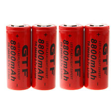 4x GTF 3.7V 8800mAh 26650 Li-ion Rechargeable Battery for Flashlight Torch USA