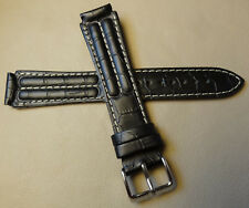 Timex Padded Black Crocodile Grain 18mm EXTRA LONG Genuine Leather Watch Band