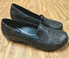 Dansko Olivia Womens Black Gray Leather Slip On Loafers Shoes US 9 EU 39 EUC