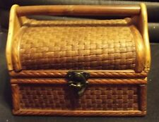 "Vntg Cigar Box Style WOODEN PURSE -Bamboo Weave & Solid Wood - 7.5""W x 5.5""H"
