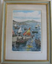 "BELA SZIKLAY HUNGARIAN FRAMED ETCHING ""BAY OF NAPLES ITALY"" C 1935"