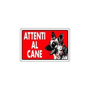 Sign for Outdoor Beware Fit Dog - Shepherd German - Background Red