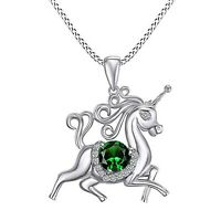 14CT White Gold Over Round Emerald Unicorn Horse Statement Pendant Necklace