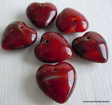 Czech Glass Heart Beads 16mm Red Striped - 6 Beads (G - 61)  Ask a question