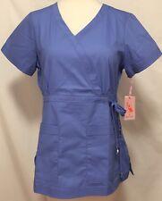 Koi Katelyn Scrub Top Womens Small Blue Easy Fit Faux Wrap Adjustable Side Tie