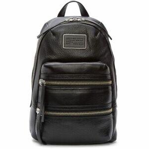 Marc Jacobs Women's Black Domo Biker Leather Backpack Hand Bag Authentic  VGC