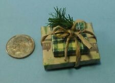 Dollhouse Miniature Handcrafted Christmas Double Gift Woodland Plaid /Twine 1:12